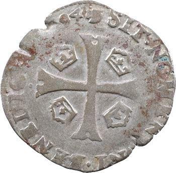 La Ligue (au nom d'Henri III), douzain aux 2 H, 1er type, 1594 Toulouse