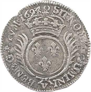 Louis XIV, quart d'écu aux palmes, 1694 Troyes