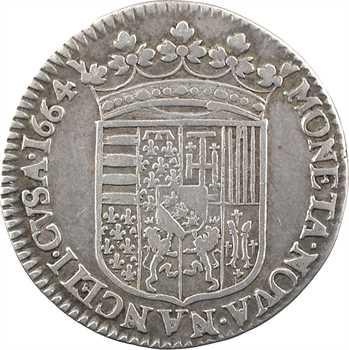 Lorraine (duché de), Charles IV, demi-teston, 1664 Nancy