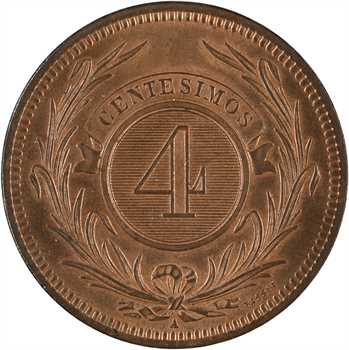 Uruguay (République du), 4 centimes (centesimos), 1869 Paris