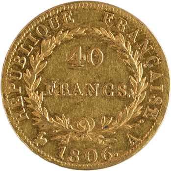 Premier Empire, 40 francs tête nue, calendrier grégorien, 1806 Paris