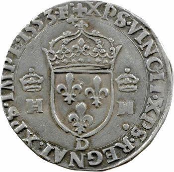 Henri II, teston à la tête nue 1er type, 1553 Lyon