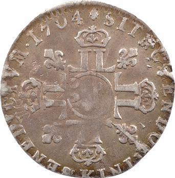 Louis XIV, douzième d'écu aux huit L, 2e type, 1704 Bordeaux