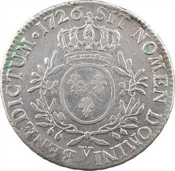 Louis XV, écu aux rameaux d'olivier, 1726 (avant mai) Troyes