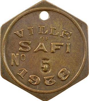 Maroc, Safi (ville de), plaque de taxe, n° 5, 1938
