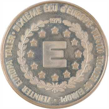 Allemagne-France, 1/10e d'écu européen Shuman Adenauer, 1975