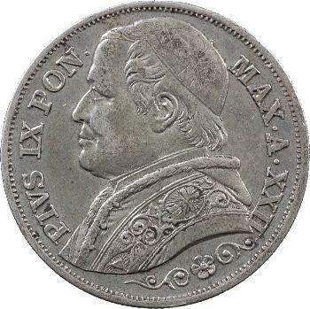 Vatican, Pie IX, 2 lire, 1867/XXII Rome