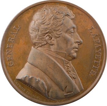 États-Unis, La Fayette, défenseur de la Liberté, par Caunois, 1824 Paris PROOF