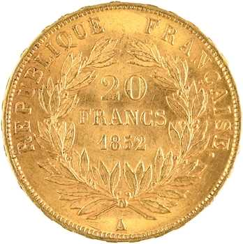 IIe République, 20 francs LNB, 1852 Paris