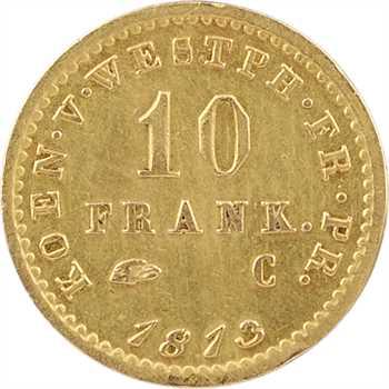 Allemagne, Westphalie (royaume de), Jérôme Napoléon, 10 franken, 1813 Cassel