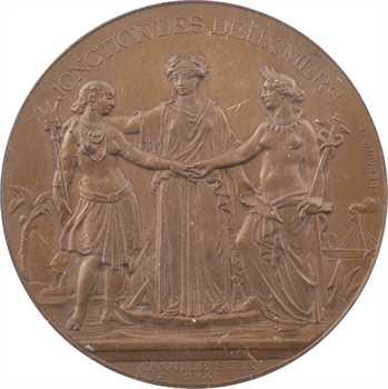 Second Empire, le canal de Suez et la jonction des deux mers, par Depaulis, 1864 Paris, PCGS SP64BN