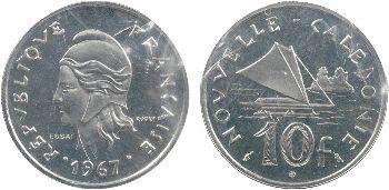Nouvelle-Calédonie, essais de 10, 20 et 50 francs, 1967 Paris