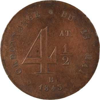 Louis-Philippe Ier, ordonnance du 25 mai, valeur de 4 1/2, 1843 Rouen