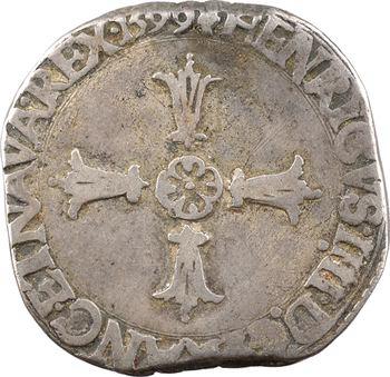 Henri IV, quart d'écu, croix feuillue de face, 1599 La Rochelle