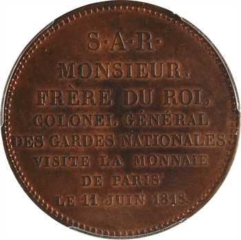 Louis XVIII, Charles-Philippe de France, visite de la Monnaie de Paris, 1818 Paris, PCGS SP63RB