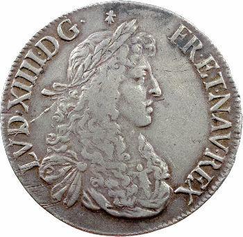 Louis XIV, écu au buste juvénile, 2e effigie, 1666 Rennes