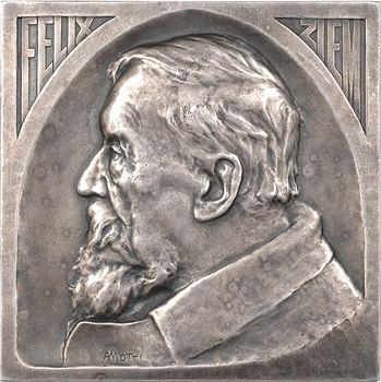 Italie, Venise, Félix Ziem, par A. Motti, bronze-argenté, 1911 Paris