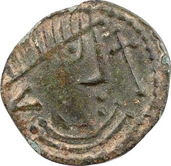 Northumbrie, denier ou sceatta en bronze, série à l'oiseau sur une croix, c.710-725