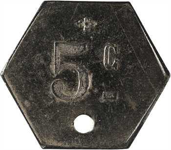 Algérie, Constantine, les mines de Taghit, 5 centimes perforé, s.d