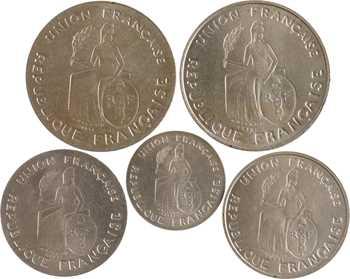 Nouvelle-Calédonie, série de 5 essais, 50 c., 1 et 2 francs, 1948 Paris