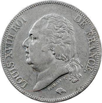 Louis XVIII, 5 francs buste nu, 1822 Rouen