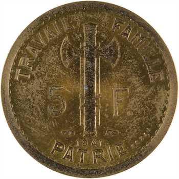 État français, essai de 5 francs Pétain type III en cupro-aluminium, 1941 Paris, non répertorié