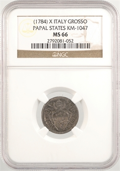 Vatican, Pie VI, grosso, An X (1784) Rome, NGC MS66