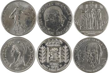 Ve République, 1 franc Semeuse, 1993 Pessac, joint 5 pièces commémoratives