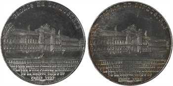 Second Empire, Napoléon III et Eugénie, Exposition Universelle, paire de médailles, 1855 Paris