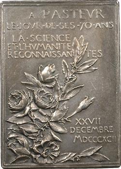 Roty (L. O.) : 70e anniversaire de Louis Pasteur, 1892 Paris