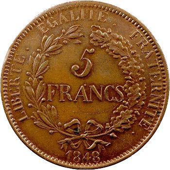 IIe République, concours de 5 francs anonyme, 1848 Paris