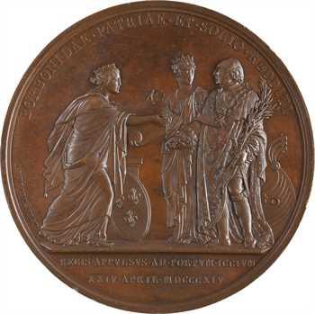 Louis XVIII, le débarquement du Roi à Calais, par Andrieu, 1814 Paris