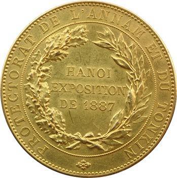 IIIe République, Annam-Tonkin, médaille en or, exposition d'Hanoï, 1887