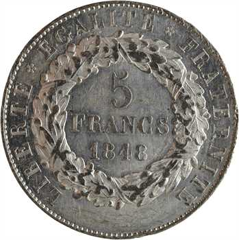 IIe République, concours de 5 francs par Vauthier-Galle, 1848 Paris