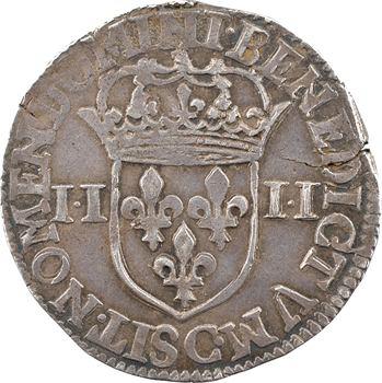 Henri IV, quart d'écu, croix bâtonnée et couronnée de face, points dans II-II, 1604 Saint-Lô