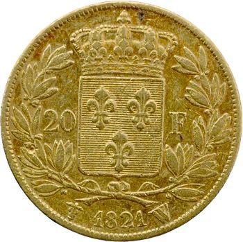 Louis XVIII, 20 francs buste nu, 1821 Lille