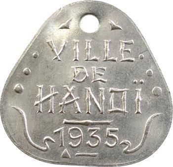Indochine, Tonkin, Hanoï, plaque de taxe n° 0, 1935