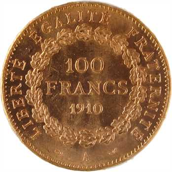 IIIe République, 100 francs Génie, 1910 Paris, PCGS MS62
