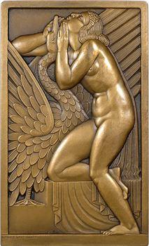 Lavrillier (A.) : Léda et le cygne, plaque uniface, s.d. (c.1925) Paris