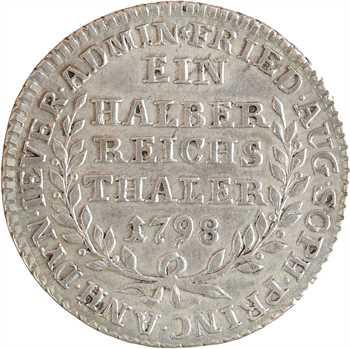 Allemagne, Jeval (seigneurie de), Frédérique-Auguste-Sophie d'Anhalt-Bernbourg, demi thaler, 1798
