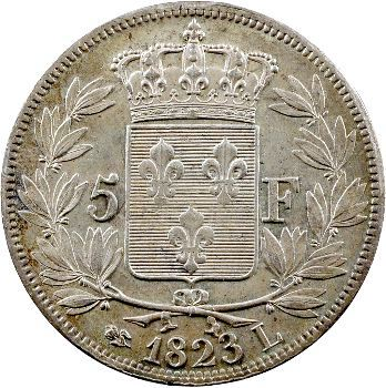 Louis XVIII, 5 francs buste nu, 1823 Bayonne