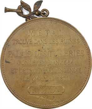 IIIe République, métal du Palais des Tuileries, souvenir par J. France, c.1883 Paris