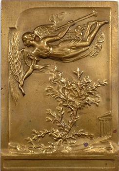 Grèce, commémoration des Jeux Olympiques à Athènes, plaquette en bronze doré par P. Vannier, 1906