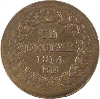 Premier Empire, un décime à l'N couronnée, 1814 Strasbourg