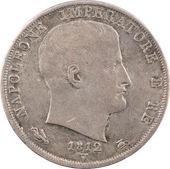 Italie, Napoléon Ier, 2 lire tranche en creux, 1812 Venise/Milan