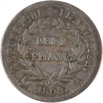 Premier Empire, demi-franc République, buste fin, 1808 Paris