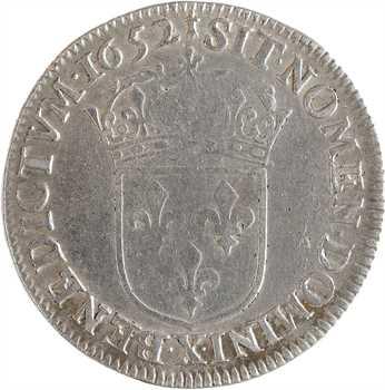 Louis XIV, quart d'écu à la mèche longue, 1652 Amiens
