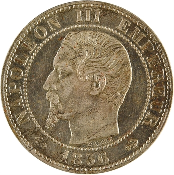 Second Empire, essai au module de cinq centimes maillechort, 1856 Paris