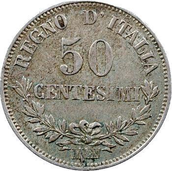 Italie (royaume d'), Victor-Emmanuel II, 50 centesimi, 1863 Milan