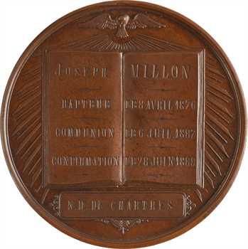 IIIe République, médaille du baptême à la confirmation de Joseph Millon, Chartres, 1876-1888 Paris